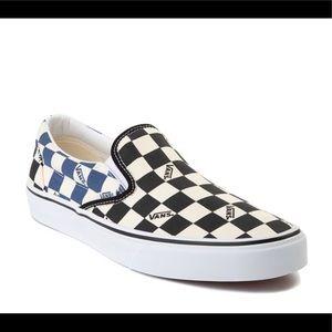 Vans Slip On Checkerboard Skate Shoe Blue White